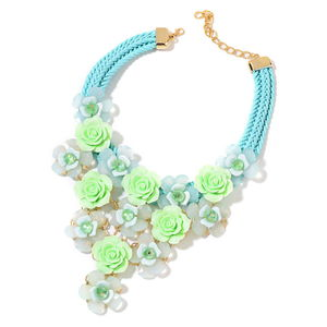 Green Chroma and Glass Goldtone Floral Bib Statement Necklace (18-20 in)