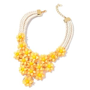 Mega Clearance Yellow Chroma, Glass Goldtone Braided Triple Strand Statement Necklace (18 in)