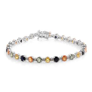 Multi Sapphire, Cambodian Zircon Platinum Over Sterling Silver Bracelet (8.00 In) TGW 14.32 cts.