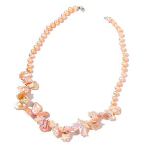 Freshwater Bead and Keshi Peach Pearl Sterling Silver Necklace (18 in)