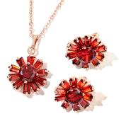 Simulated Red Diamond Rosetone Earrings and Pendant With Chain (20 in) TGW 16.00 cts.