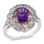 Lusaka Amethyst, Ethiopian Welo Opal Platinum Over Sterling Silver Ring (Size 8.0) TGW 4.45 cts.