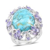 Mojave Blue Turquoise, Tanzanite 14K YG Over and Sterling Silver Ring (Size 6.0) TGW 12.65 cts.
