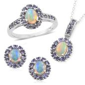Srikant's Showstopper Ethiopian Welo Opal, Tanzanite Platinum Over Sterling Silver Earrings, Ring (Size 5) and Pendant With Chain (20 in) TGW 4.66 cts.