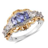 Tanzanite, White Topaz 14K YG and Platinum Over Sterling Silver Ring (Size 9.0) TGW 3.06 cts.