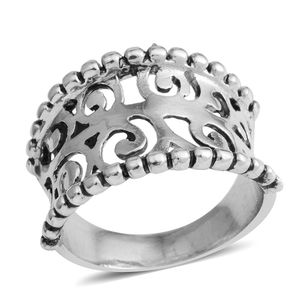 Silvertone Openwork Concave Ring (Size 8.0)