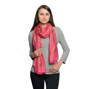 Pink Jacquard 100% Modal Reversible Scarf (80x28 in)