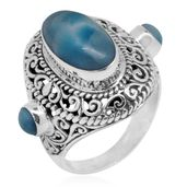 Bali Legacy Collection Larimar Sterling Silver Ring (Size 7.0) TGW 8.99 cts.