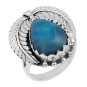 Bali Legacy Collection Larimar Sterling Silver Leaf Ring (Size 10.0) TGW 9.85 cts.