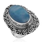 Bali Legacy Collection Larimar Sterling Silver Engraved Elongated Ring (Size 7.0) TGW 14.52 cts.