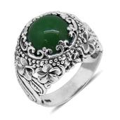 Bali Legacy Collection Burmese Green Jade Sterling Silver Ring (Size 7.0) TGW 7.64 cts.