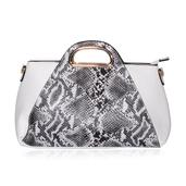 White and Black Snake Print Baguette Bag with Removable Shoulder Strap (16x4.5x8.5 in)