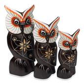 Handcarved & Painted Softwood Owl Set of 3