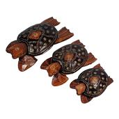 Set of 3 Hand Carved & Painted Softwood Turtles With Separated Lid (5,6,8 in)