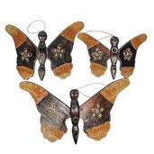 Set of 3 Handcarved and Painted Wooden Butterfly Wall Hangings