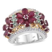 Niassa Ruby, Multi Gemstone 14K YG and Platinum Over Sterling Silver Openwork Floral Ring (Size 5.0) TGW 8.36 cts.