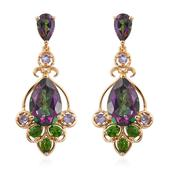 Northern Lights Mystic Topaz, Russian Diopside, Tanzanite 14K YG Over Sterling Silver Earrings TGW 13.57 cts.