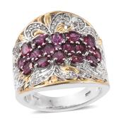 Mahenge Umbalite, Cambodian Zircon 14K YG and Platinum Over Sterling Silver Openwork Cluster Concave Ring (Size 5.0) TGW 3.28 cts.