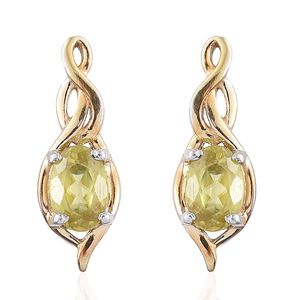 Madagascar Sphene 14K YG and Platinum Over Sterling Silver Earrings TGW 1.06 cts.