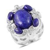 Lapis Lazuli, White Austrian Crystal Stainless Steel Ring (Size 7.0) TGW 15.00 cts.