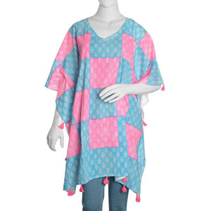 Blue and Pink Checker Board 100% Cotton Hand Block Printed White Paisley Pattern Kaftan with Tassels (One Size)