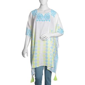 White 100% Cotton Hand Block Printed Turquoise and Green Artistc Blocks Pattern Kaftan with Tassels (One Size)