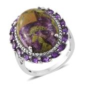 Tasmanian Stichtite, Amethyst Platinum Over Sterling Silver Ring (Size 7.0) TGW 11.69 cts.