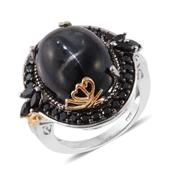 Indian Black Star Diopside, Thai Black Spinel 14K YG and Platinum Over Sterling Silver Ring (Size 10.0) TGW 25.75 cts.