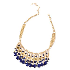 Navy Blue Howlite, Champagne Glass Goldtone Bib Fringe Necklace (20 in) TGW 229.00 cts.