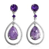 Utah Tiffany Stone, Amethyst, Diamond Accent Platinum Over Sterling Silver Earrings TGW 11.46 cts.