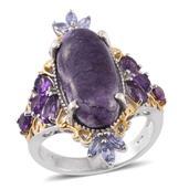 Utah Tiffany Stone, Amethyst, Tanzanite 14K YG and Platinum Over Sterling Silver Ring (Size 5.0) TGW 10.17 cts.