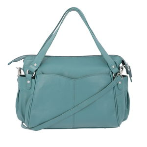 Teal Genuine Leather RFID Sling Bag with Standing Studs (17x11x3 in)