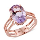 Rose De France Amethyst 14K RG Over Sterling Silver 3 Row Solitaire Ring (Size 9.0) TGW 5.40 cts.
