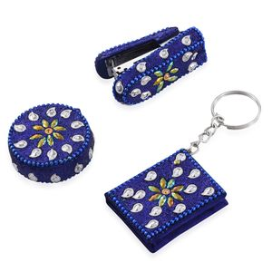 Set of Bedazzled Booklet Key Chain, Measuring Tape, and Personal Size Stapler-Navy Blue