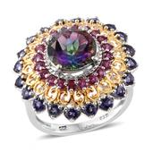 Northern Lights Mystic Topaz, Catalina Iolite, Orissa Rhodolite Garnet 14K YG and Platinum Over Sterling Silver Ring (Size 8.0) TGW 6.65 cts.