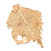 Nature's D'Or Birch Leaf Dipped in 24K YG on 14K YG Over Sterling Silver Band Ring (Size 6.0)