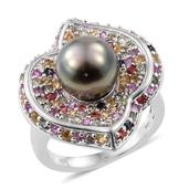 Tahitian Pearl, Multi Sapphire Platinum Over Sterling Silver Ring (Size 8.0) TGW 2.38 cts.