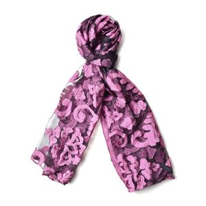 Pink and Black 70% Polyester & 30% Chinlon Semi Sheer Damask Embroid Pattern Scarf (72x26 in)