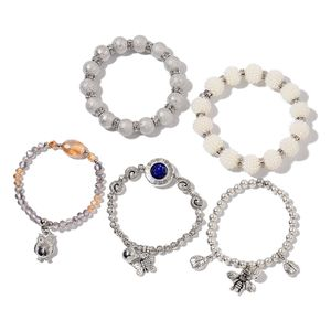 Multi Color Glass, Chroma, White and Blue Austrian Crystal Silvertone Set of 5 Bracelets (Stretchable)