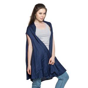 Blue 100% Rayon Round Drape Kimono Vest (Free Size)