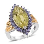 Ouro Verde Quartz, Tanzanite 14K YG and Platinum Over Sterling Silver Ring (Size 6.0) TGW 9.13 cts.