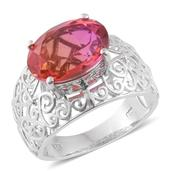 Arizona Sunset Quartz Platinum Over Sterling Silver Ring (Size 7.0) TGW 6.50 cts.