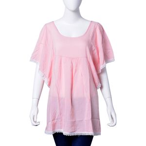 Pink 100% Viscose Criss Cross Back Lace Embroidered Scoop Neck Blouse (Large-1X)