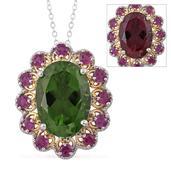 Alexandria Quartz, Purple Garnet 14K YG and Platinum Over Sterling Silver Pendant With Chain (20 in) TGW 14.51 cts.