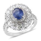 Masoala Sapphire, White Topaz Platinum Over Sterling Silver Ring (Size 9.0) TGW 6.63 cts.