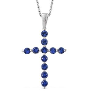 Platinum Over Sterling Silver Cross Pendant With Chain (20 in) Made with SWAROVSKI Sapphire Crystal TGW 1.34 cts.