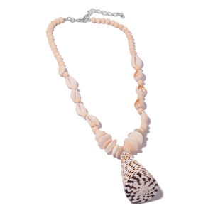 Shell, Coffee Bean Shell, Coin Shell, Wooden Beads Silvertone Necklace (24 in)