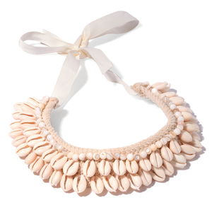 White Coffee Bean Shell, Shell Beads White Fabric Bib Necklace (18 in)