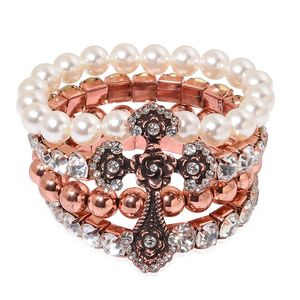 Simulated Pearl, Austrian Crystal Rosetone Cross Bracelet (Stretchable)