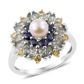 Freshwater Pearl, Multi Sapphire Platinum Over Sterling Silver Ring (Size 5.0) TGW 2.70 cts.